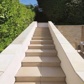 Bull Nose Steps 600x300x30 mm - Sawn Buff