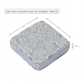 Mid Grey Granite Tumbled Setts 100x100