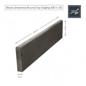 Black Limestone Round Top Edging 600x150 Dimensions