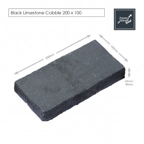 Black Limestone 200x100 Cobbles