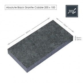 sawn Black granite setts 200x100