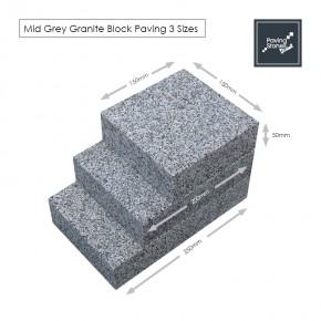 Mid Grey Granite Block Paving 50mm