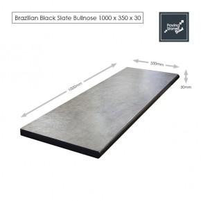 Bullnose Steps 1000x350x30mm - Premium Brazil Black Slate
